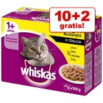 10 + 2 på köpet! Whiskas 1+ portionspåsar 12 x 100 g - 1+ Blandat urval i gelé
