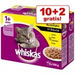 10 + 2 på köpet! Whiskas 1+ portionspåsar 12 x 100 g - 1+ Klassiskt urval i sås
