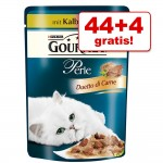 44 +4 på köpet! 48 x 85 g Gourmet Perle - Duetto di Carne med lax & sej