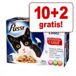 10 + 2 på köpet! Pussi våtfoder för katter 12 x 100 g - Dubbelt så gott... Köttvariationer