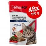 Ekonomipack: Feline Porta 21 portionspåsar 48 x 100 g - Tonfisk med nötkött - spannmålsfritt