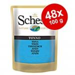 Ekonomipack: Schesir i gelé portionspåse 48 x 100 g - Tonfisk & kyckling med räkor