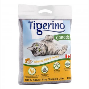 Limited Edition: Tigerino Canada kattsand – Almond Milk & Honey – Ekonomipack.: 2 x 12 kg