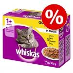 RABATT på 96 x 85 / 100 g Whiskas i portionspåse - Fjäderfäurval i gelé Senior 7+ (96 x 100 g)