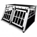 vidaXL Transportbur för hund med dubbla dörrar S aluminium