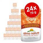 Ekonomipack: Almo Nature Daily Menu Pouch 24 x 70 g - Torsk och räkor