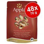Ekonomipack: Applaws Cat Pouches kattmat 48 x 70 g - Kyckling & sparris