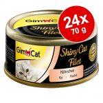 Ekonomipack: GimCat ShinyCat Filet 24 x 70 g - Kyckling & räkor