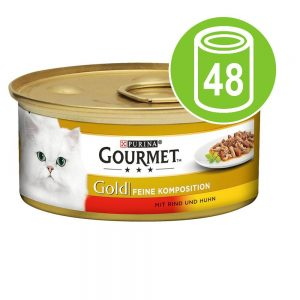 Ekonomipack: Gourmet Gold Fina kompositioner 48 x 85 g - Anka & kalkon