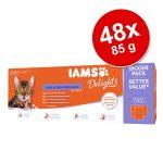 Ekonomipack: IAMS Delights Adult 48 x 85 g - Land & Sea mix i gelé