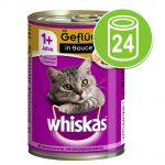 Ekonomipack: Whiskas 1+ burkar 24 x 400 g - Blandpack: Fjäderfä i sås + Nötkött & lever i sås