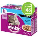 Ekonomipack: Whiskas 1+ portionspåse 48 x 85 g / 100 g - 1+ Fågelurval i sås 100 g