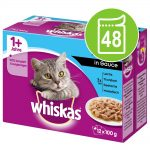 Ekonomipack: Whiskas 1+ portionspåse 48 x 85 g / 100 g - 1+ Fiskurval i gelé 100 g
