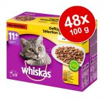 Ekonomipack: Whiskas 11+ portionspåse 48 x 100 g Fiskurval i gelé