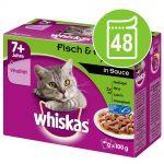 Ekonomipack: Whiskas 7+ Senior portionspåse 48 x 100 g - 7+ Fiskurval i gelé 100 g