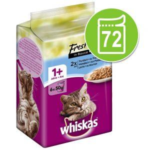 Ekonomipack: Whiskas Fresh Menue 72 x 50 g - Tonfisk, vitfisk, lax i sås
