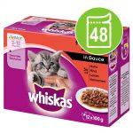 Ekonomipack: Whiskas Junior portionspåse 48 x 85/100 g - Klassiskt urval i sås 100 g