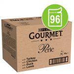Jumbopack: Gourmet Perle 96 x 85 g - Lax & räkor, Rödspätta & räkor, Fisk & tonfisk, Tonfisk
