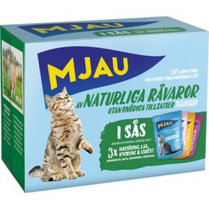 Kattfoder Mjau Box Kött och Fisk i Sås
