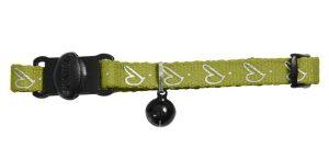 Katthalsband by Laura med reflex grön