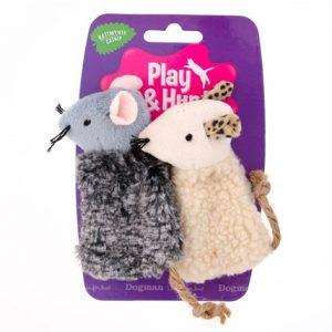 Kattleksaker Plyschdjur med repsvans 2-pack