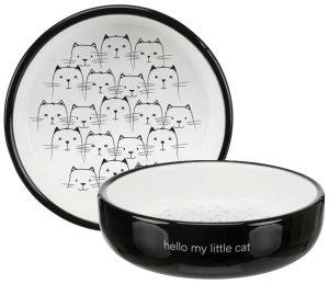 Kattmatskål Hello my Little cat (svart/vit)