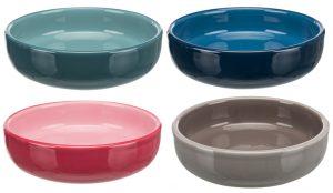 Kattmatskål keramik med låg kant (4 färger)