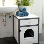 Möbel till kattlåda vit och grå