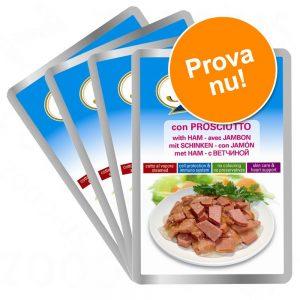 Provpack: Stuzzy Cat 8 x 100 g i portionspåse - Skinka, Nötkött, Kyckling, Kalv