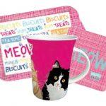 Teatime present set rosa med katter