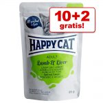10 + 2 på köpet! 12 x 85 g Happy Cat Pouch Meat in Sauce Kyckling & kalkon