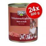 Ekonomipack: Grau Gourmet spannmålsfritt 24 x 800 g - 12 x Fågel & havsfisk + 12 x Kalkon & lamm