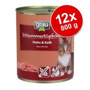 Grau Gourmet spannmålsfritt 12 x 800 g - 6 x Kyckling & kalv + 6 x Kalkon & lamm