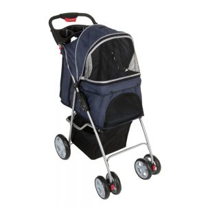 Sporty Pet Stroller vagn för katter - Mörkblå / ljusgrå