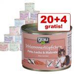 20 + 4 på köpet! 24 x 200 g Grau Gourmet spannmålsfritt - Kalkon lax & makrill