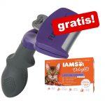 FURminator deShedding Tool för katt + 12 x 85 g IAMS Naturally Adult Mix - Liten katt / pälslängd över 5 cm NY DESIGN