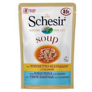 Schesir Cat Soup 6 x 85 g - Vild tonfisk & pumpa