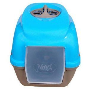 kattlåda med tak Nova blå/taupe