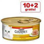 10 + 2 på köpet! 12 x 85 g Gourmet Gold våtfoder - Melting Heart Nötkött