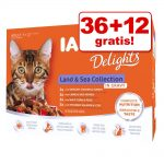36 + 12 på köpet! IAMS Delights Adult Land & Sea 48 x 85 g - I sås