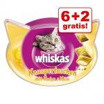 6 + 2 på köpet! Whiskas godbitar Trio Crunchy Treats Kyckling 8 x 66 g