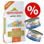 Blandpack: 2 kg Almo Nature torrfoder + 12 x 70 / 140 g våtfoder - 2 kg Holistic Oily Fish & Rice + 12 x 70 g Legend Lax