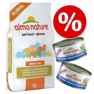 Blandpack: 2 kg Almo Nature torrfoder + 12 x 70 / 140 g våtfoder - 2 kg Sterilised Salmon & Rice + 12 x 70 g Legend Tonfisk och Räkor