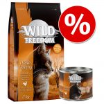 Blandpack: 2 kg Wild Freedom torrfoder + 6 x 200 g våtfoder Kitten Wide Country - Poultry