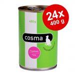 Ekonomipack: Cosma Original i gelé 24 x 400 g Blandpack II: Kyckling, Skipjack tonfisk, Pacific tonfisk, Lax