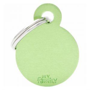 Id-bricka cirkel grön med gravyr