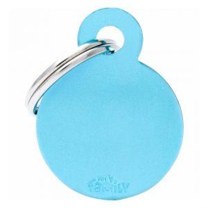 Id-bricka cirkel ljusblå med gravyr