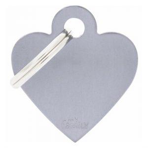 Id-bricka grå hjärta med gravyr
