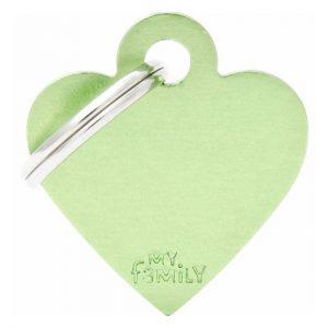 Id-bricka grönt hjärta med gravyr