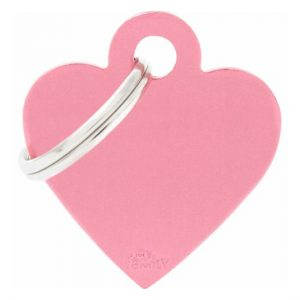 Id-bricka hjärta rosa med gravyr